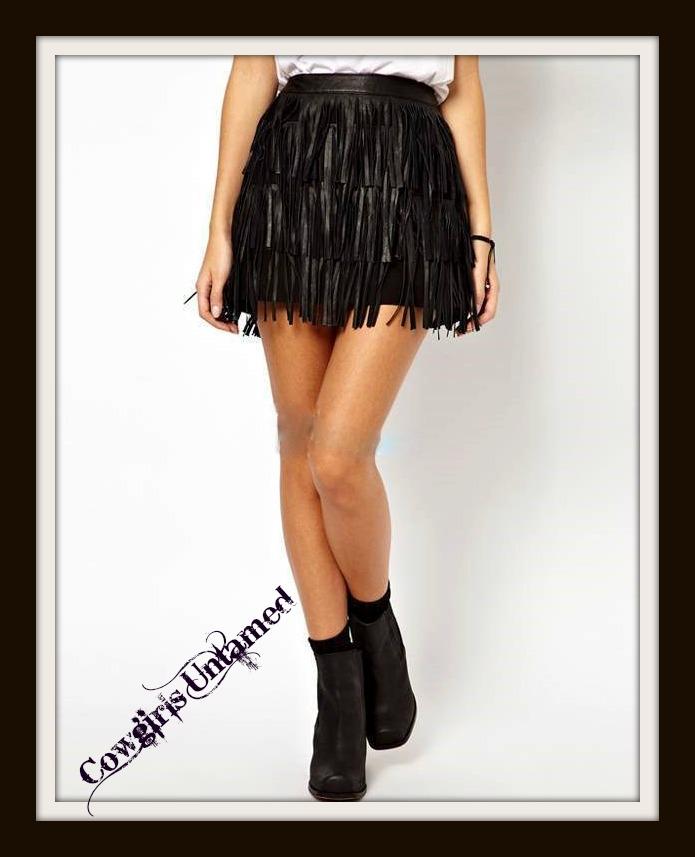 COWGIRL STYLE SKIRT Black Faux Leather Fringe Mini Skirt