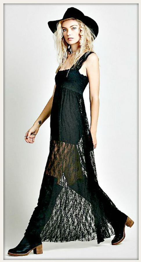 8a7067475e61 Empire Waist Backless Black Lace Square Neck Sheer Boho Maxi Dress ...