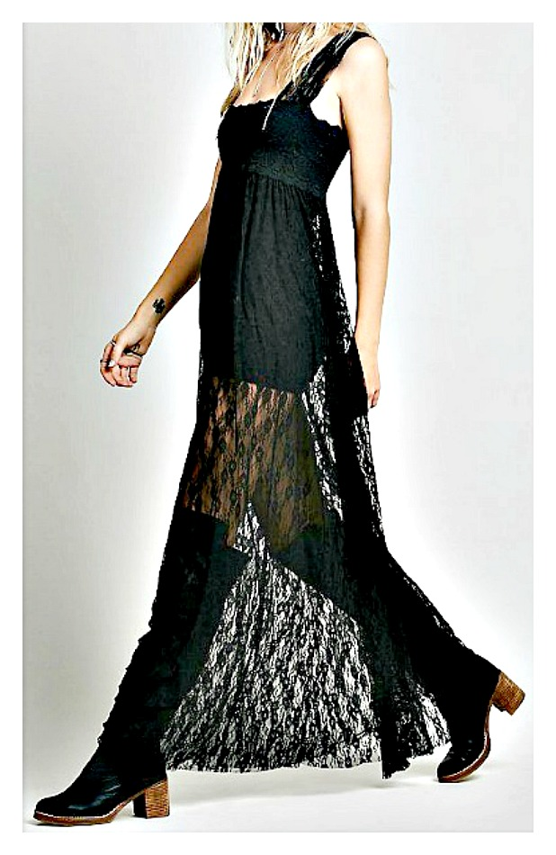 COWGIRL GYPSY DRESS Empire Waist Backless Black Lace Square Neck Sheer Boho Maxi Dress