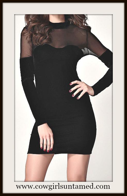COWGIRL GLAM DRESS Sheer Black Mesh and Soft Velvet Mini Dress