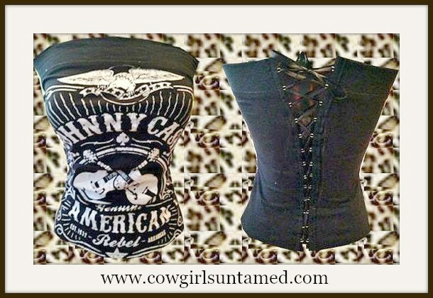 "CORSET - Black N White ""JOHNNY CASH AMERICAN REBEL"" with Crossed Guitars and Eagle Lace Up Back Western Corset Style Top"