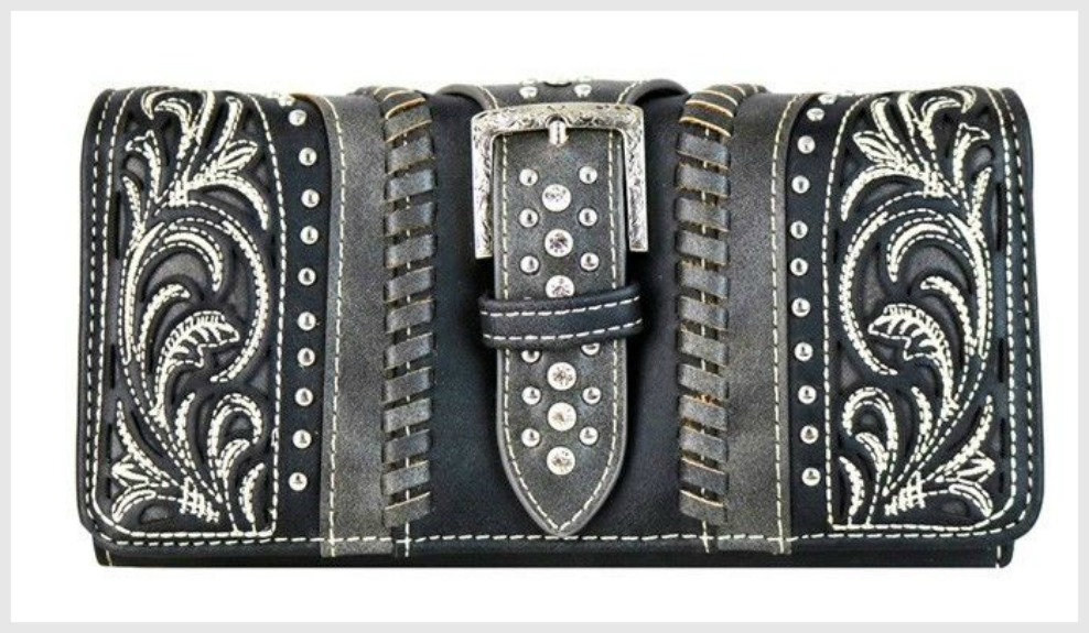 THE BUCKLE WALLET Crystal Buckle Strap Silver Studded Floral Embroidery Black Leather Trifold Wristlet