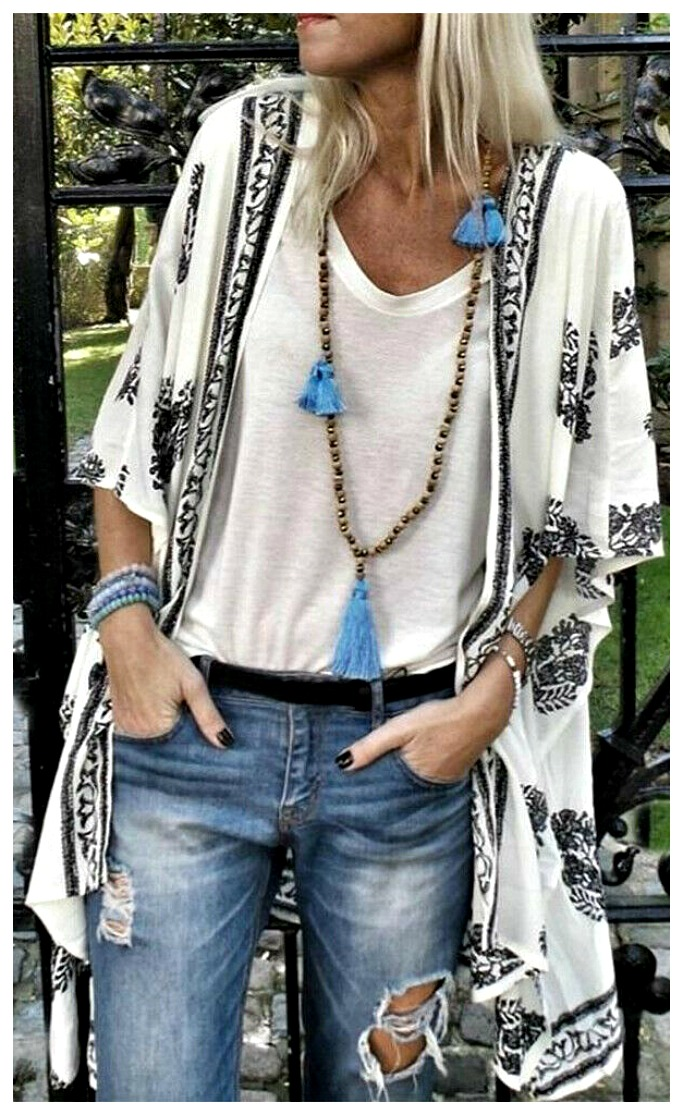 THE JASMINE KIMONO Black & White Boho Print Cotton Short Sleeve Kimono Jacket Cover Up