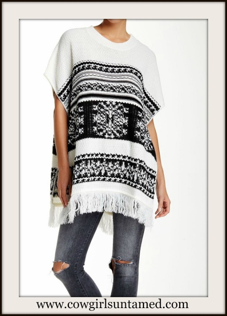 BOHO CHIC SWEATER Black and Ivory Fringed Designer Poncho Sweater