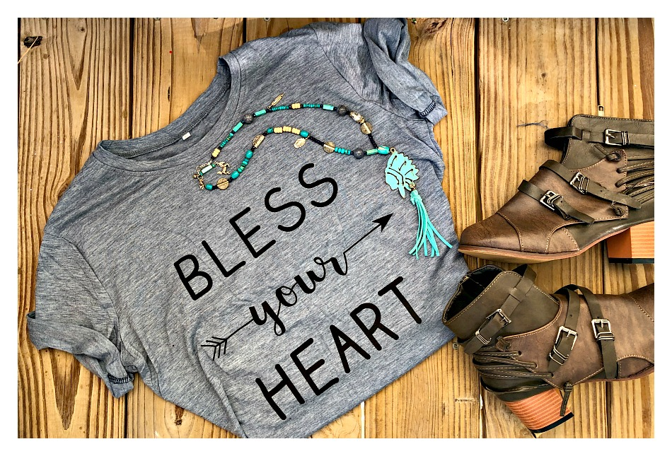 "SOUTHERN BELLE TOP ""Bless Your Heart"" Arrow Blue Short Sleeve Tee LAST ONE S/M"