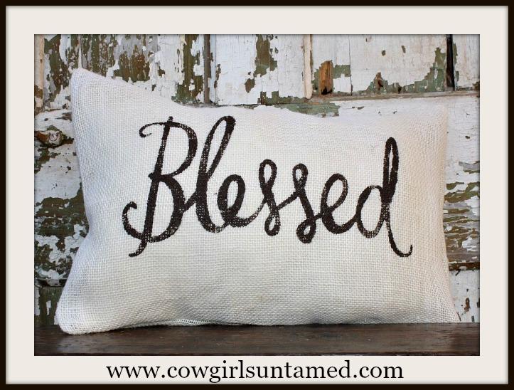"""FARMHOUSE CHIC DECOR """"Blessed"""" Burlap Pillow Case"""