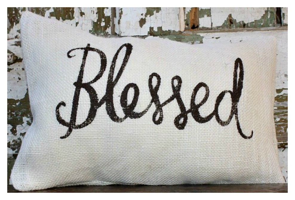 "FARMHOUSE CHIC DECOR ""Blessed"" Burlap Pillow Case"