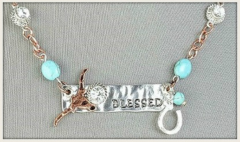 "RODEO REBEL NECKLACE Silver ""Blessed"" Copper Steer Horseshoe & Rhinestone Pendant on Turquoise Necklace"