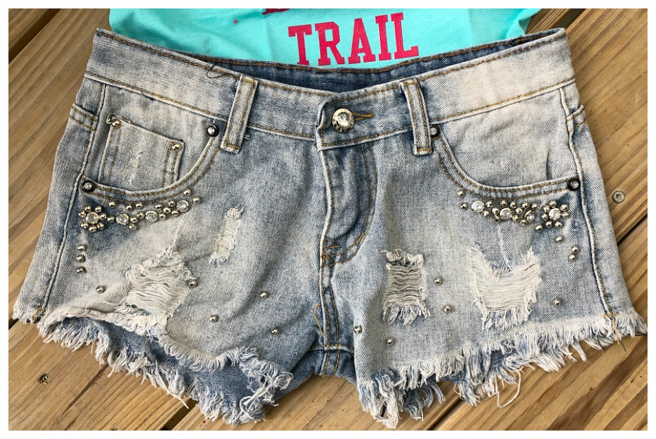 SOUTHERN BELLE SHORTS Rhinestone Studded and Silver Beaded Blue Jean Cut Off Shorts  Sizes S-XL