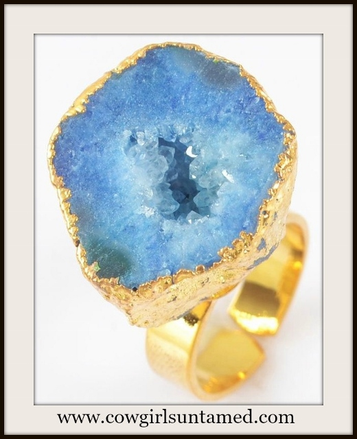WESTERN COWGIRL RING Genuine Blue Agate Druzy Gold Plated Ring