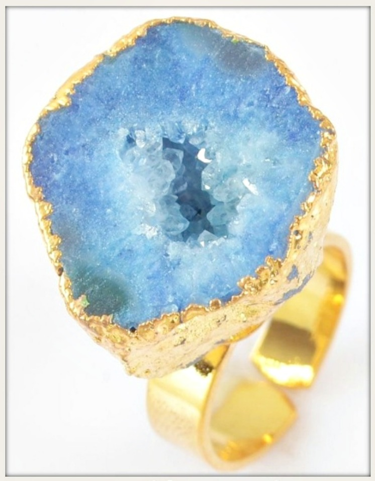 WILDFLOWER RING Genuine Blue Agate Druzy Gold Plated Ring