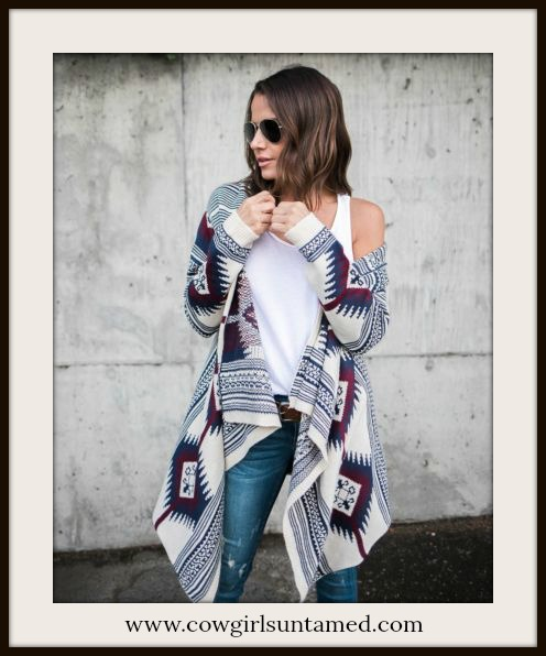 COWGIRL GYPSY SWEATER Blue & Burgundy Aztec High Low Oversized Open Cardigan