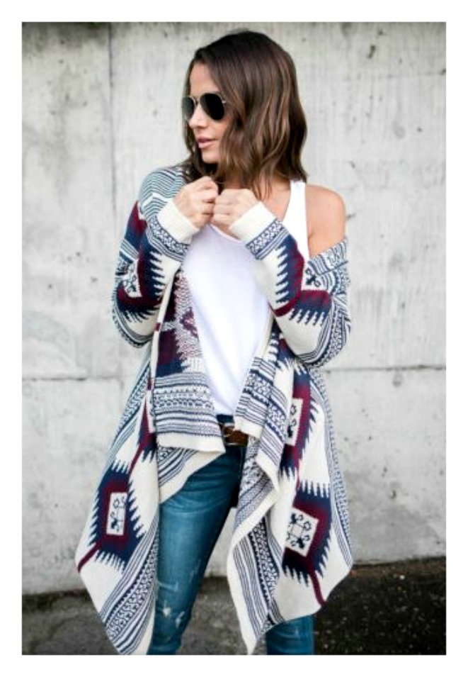 a6909e72be7 COWGIRL GYPSY SWEATER Blue   Burgundy Aztec High Low Oversized Open Cardigan