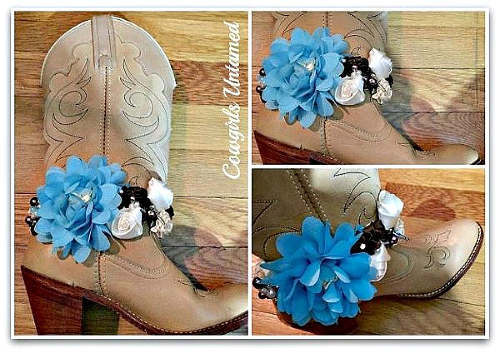 WILDFLOWER BOOT GARTER Handmade Turquoise Brown Flowers Pearls, Rhinestones & Feather Charm Boot Cuff
