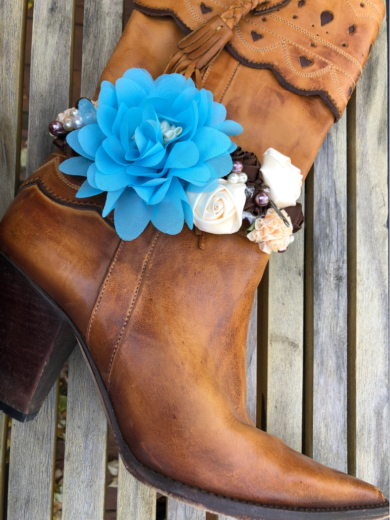 WILDFLOWER BOOT GARTER Blue Turquoise Brown Cream Silk Flowers Pearls Rhinestones Crystal Silver Feather Boot White Lace Boot Garter