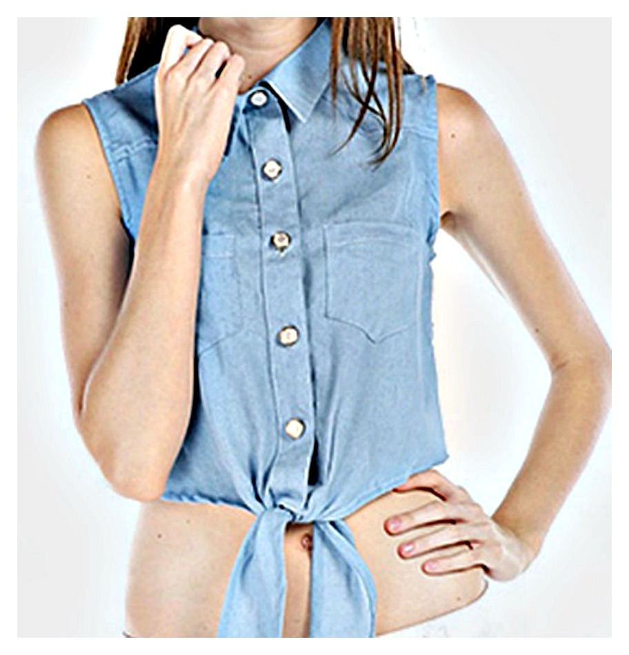 COWGIRL STYLE TOP Blue Chambray Jean Button Down Tie Front Sleeveless Crop Top