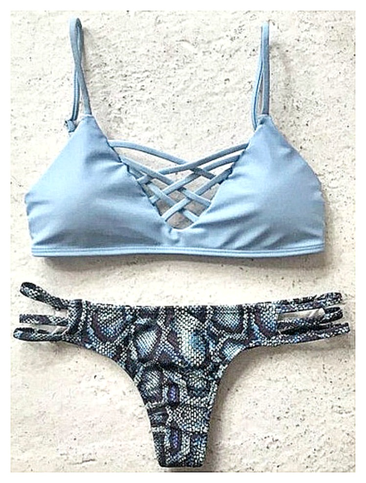 ON THE PROWL BIKINI Flirty Blue Criss Cross Top with Snakskin Brazilian Bottom Bikini Set