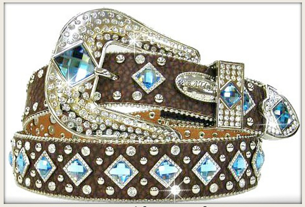 WESTERN COWGIRL BELT Blue Diamond Crystal Silver Studded Brown Leather Belt LAST ONE XL