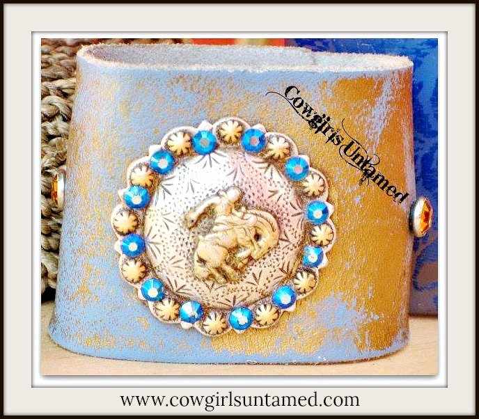 RODEO REBEL CUFF Blue Crystal Bucking Horse Concho on GENUINE Leather Western Cuff Bracelet