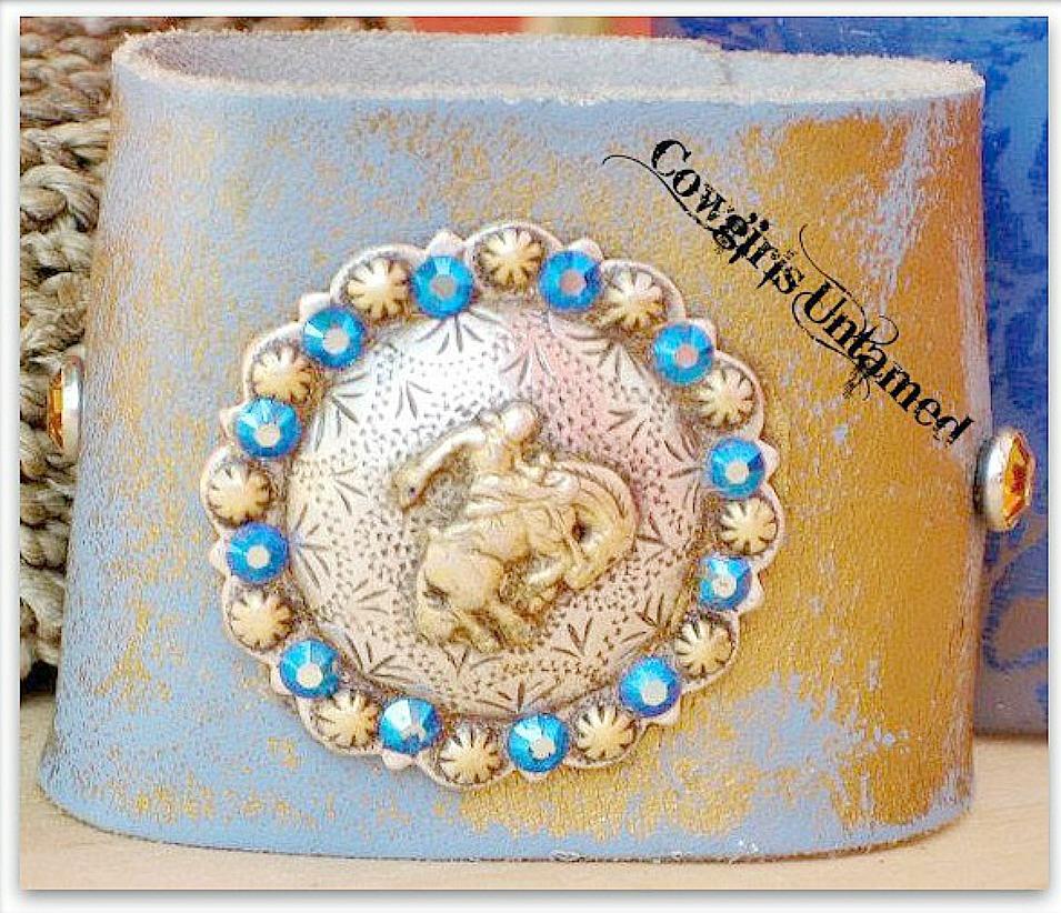 RODEO REBEL CUFF Blue Crystal Bucking Horse Concho on GENUINE Leather Western Cuff Bracelet