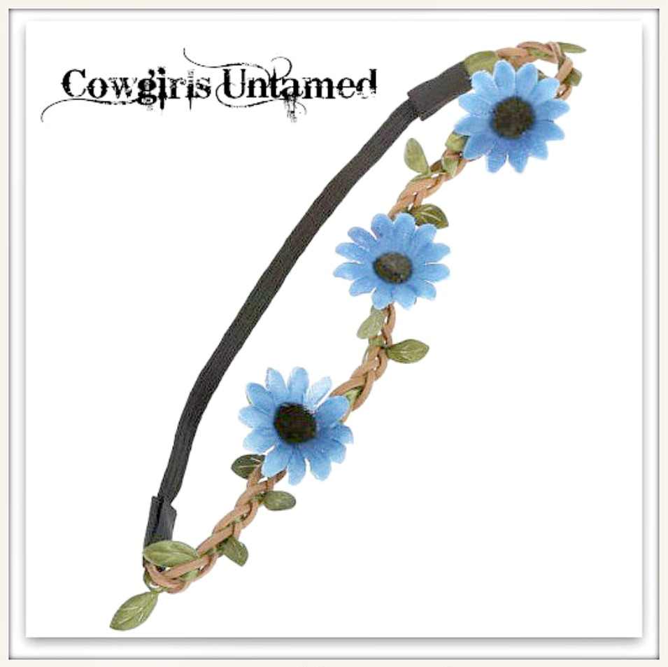 BOHO CHIC HEADBAND Blue Daisy Flowers on Brown Braided Leather Stretchy Boho Headband