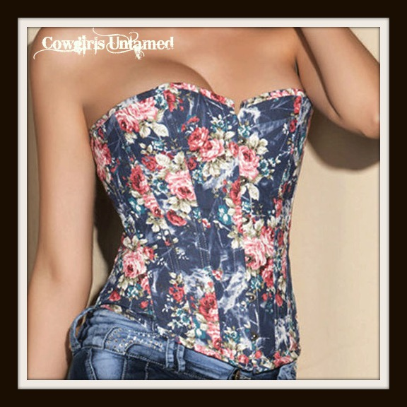 CORSET - Blue Denim Floral Lace Up Back Western Corset Bustier Top and FREE Thong