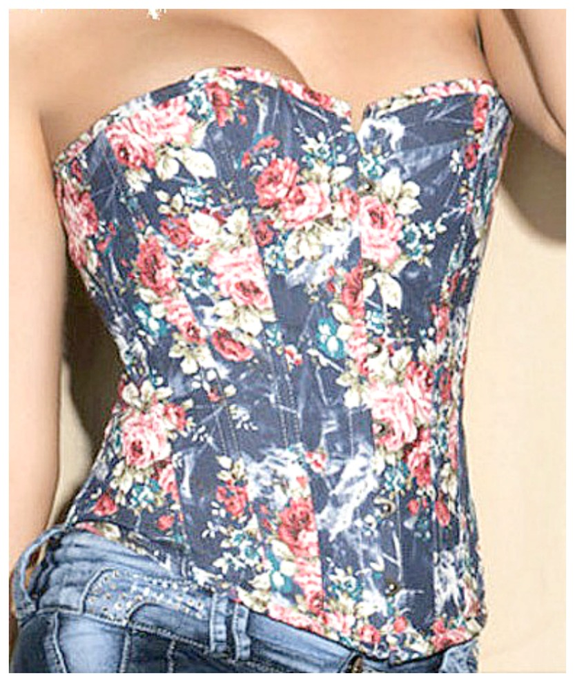 CORSET - Blue Denim Floral Lace Up Back Western Corset Bustier Top LAST ONE LARGE