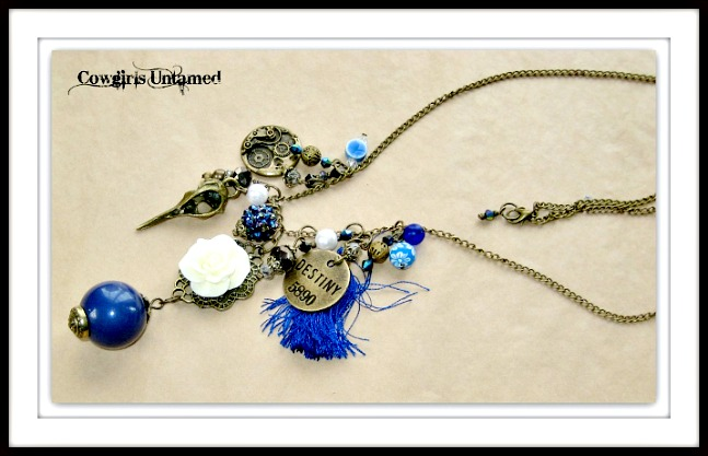 "WILDFLOWER NECKLACE Antique Bronze  Warrior Crow Skull ""Destiny"" Clock Blue Silk Tassel Crystal Filigree Charm Necklace"