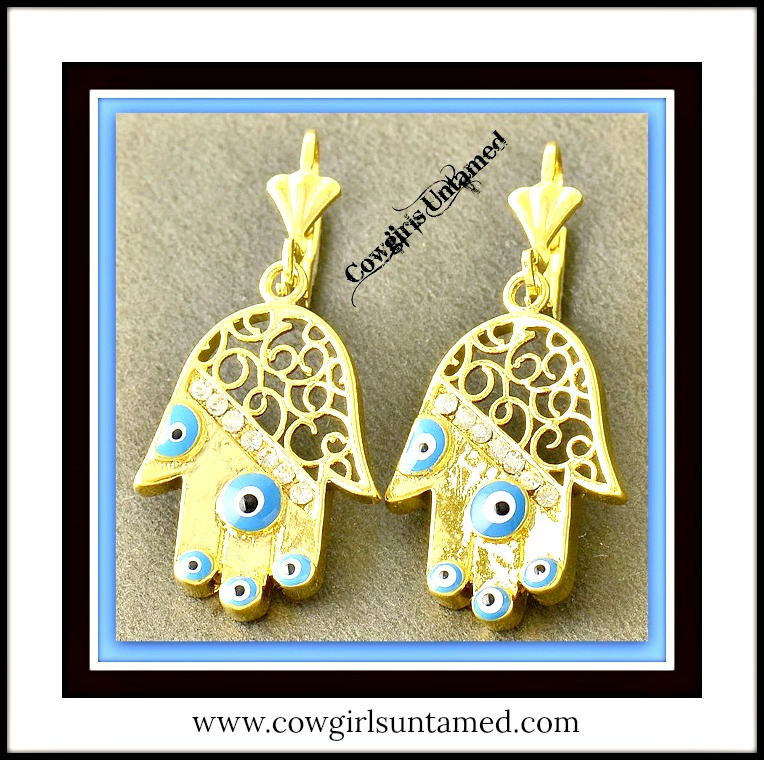COWGIRL GYPSY EARRINGS Blue Enamel Evil Eye CZ Hand 9K Gold Boho Earrings