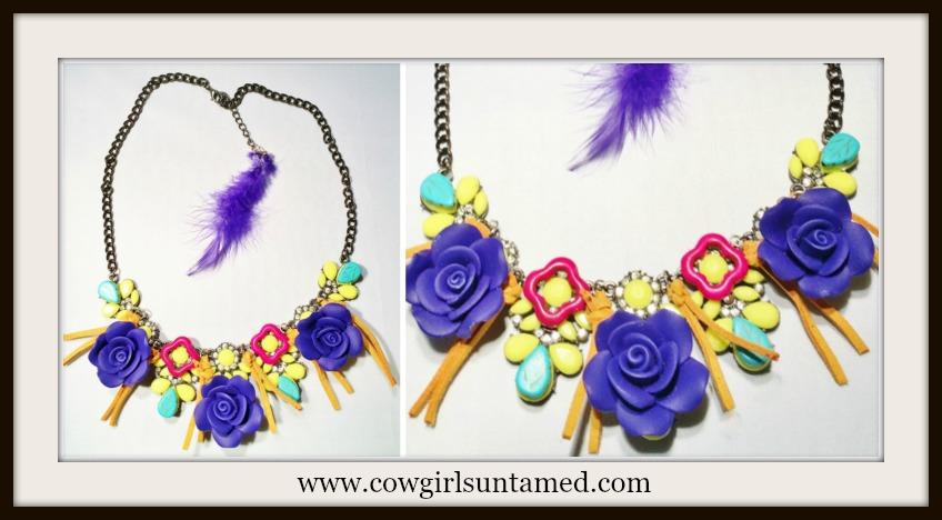 WILDFLOWER NECKLACE Blue Flower Rhinestone Tassel Feather Ethnic Bib Necklace