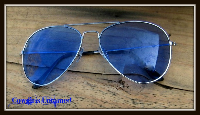 COWGIRL STYLE SUNGLASSES Blue Lens Metal Frame Sunglasses