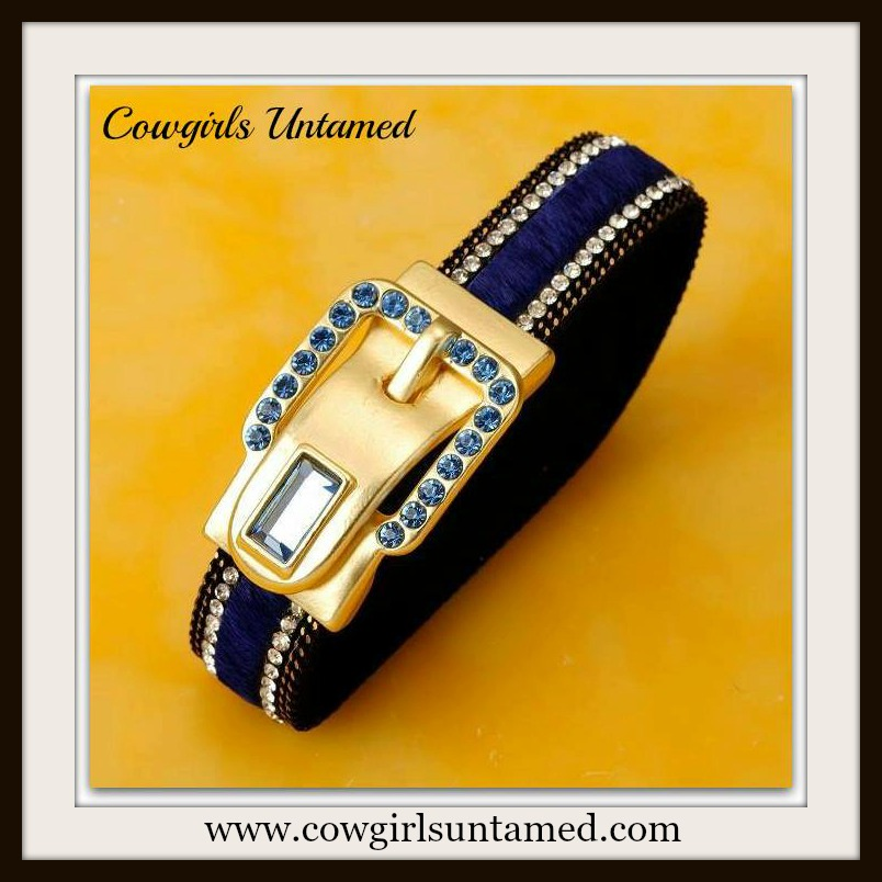 COWGIRL STYLE CUFF Blue Swarovski Crystal 18K GP Buckle Blue Cowhide Leather Cuff