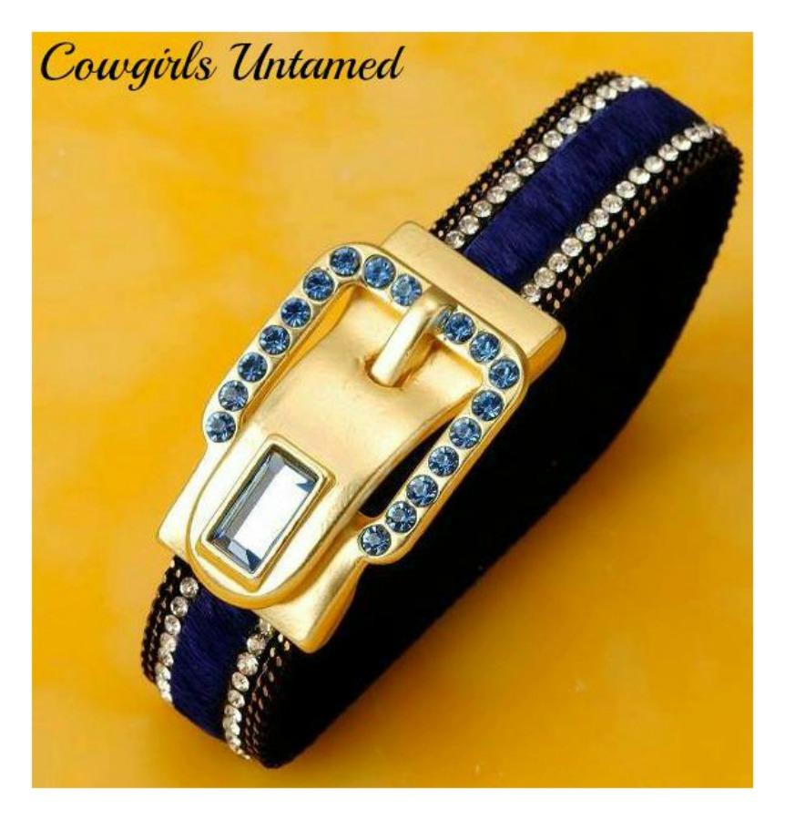 BUCKLE UP CUFF Blue Swarovski Crystal 18K GP Buckle Blue Cowhide Leather Cuff