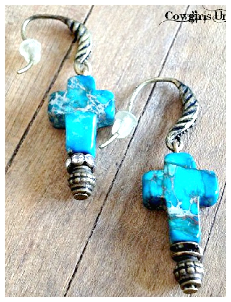 WESTERN COWGIRL EARRINGS Gemstone Crosses and Rhinestones Antique Bronze Earrings
