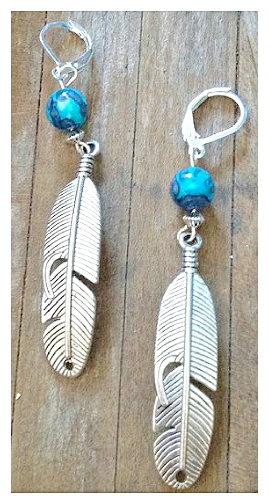 WILDFLOWER EARRINGS Blue and Aqua Jasper Gemstone with Long Silver Feather
