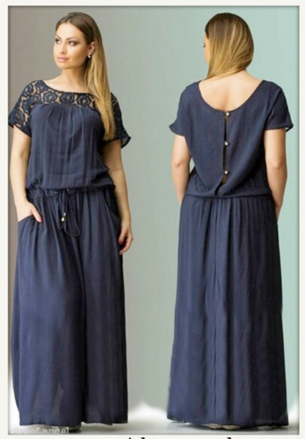 WILDFLOWER DRESS Navy Blue Lace Shoulder Button Back Pocket Long Boho Maxi Dress L/XL or 2X