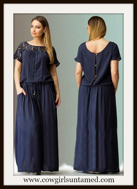 WILDFLOWER DRESS Deep Blue Lace Shoulder Button Back Long Boho Maxi Dress