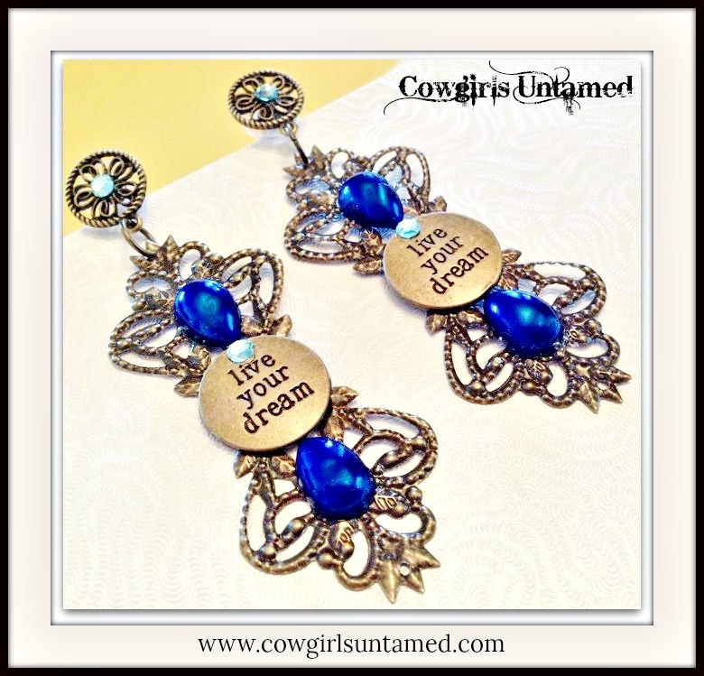 COWGIRL ATTITUDE EARRINGS Blue Crystal & Pearl Antique Bronze Filigree LIVE YOUR DREAM Earrings