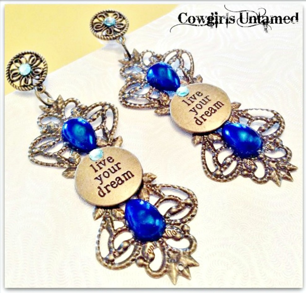 LIVE YOUR DREAM EARRINGS Blue Crystal & Pearl Antique Bronze Filigree LIVE YOUR DREAM Earrings