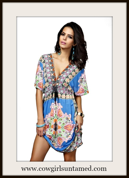 COWGIRL GYPSY DRESS Empire Waist Deep V Neckline Moroccan Boho Mini Dress