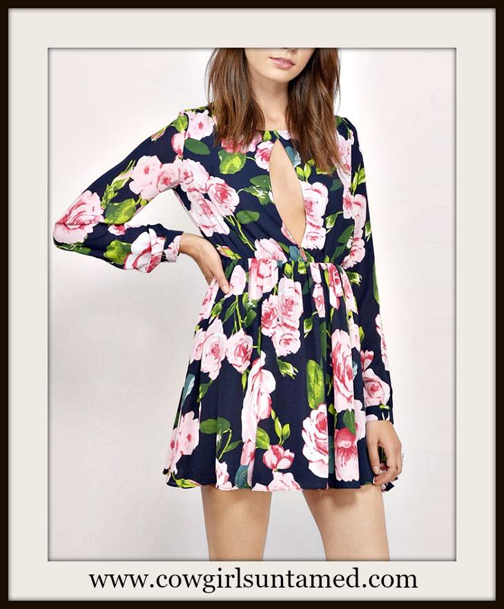 WILDFLOWER DRESS Pink Floral Deep V Keyhole Long Sleeve Blue Mini Dress