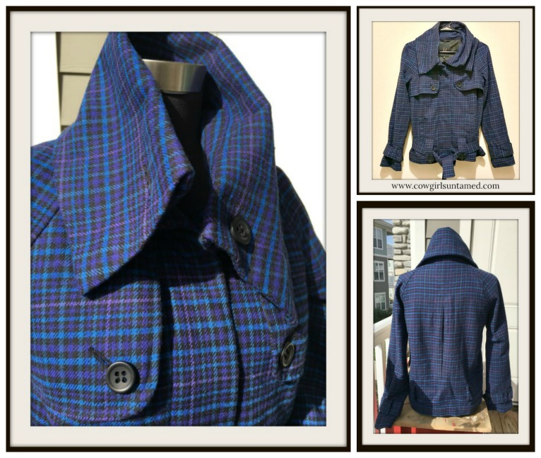 DESIGNER JACKET Blue Black Purple Plaid Designer Jacket