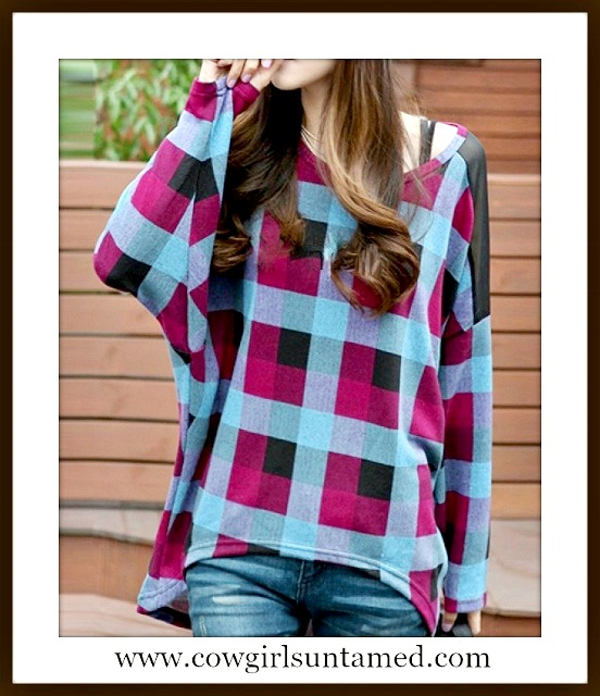 WESTERN COWGIRL SWEATER Black Blue Turquoise Purple Plaid Batwing Sweater
