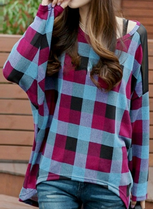 SPRING IT FORWARD SWEATER Black Blue Turquoise Purple Plaid Batwing Sweater