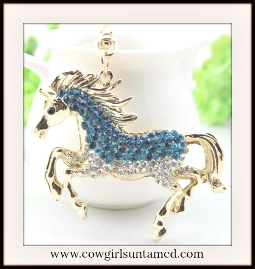 HORSE LOVIN' COWGIRL KEYCHAIN Beautiful Teal and Turquoise Crystal Golden Horse Keychain