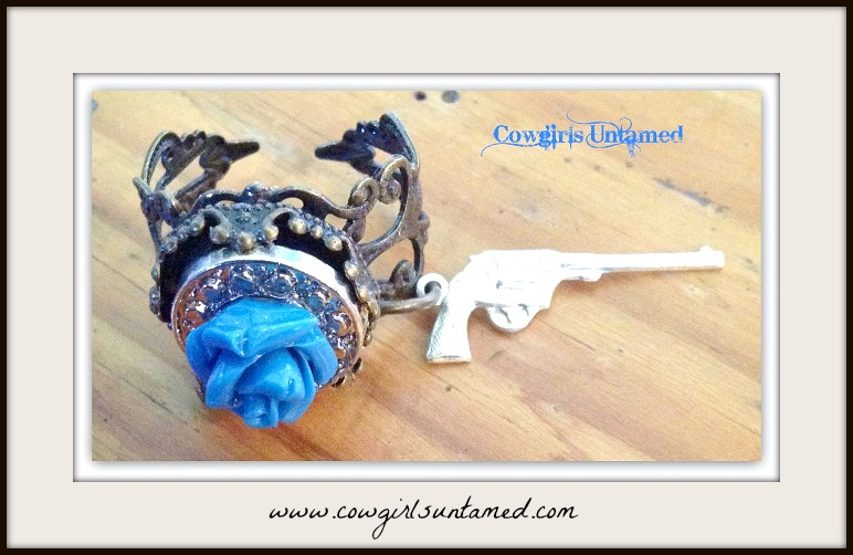 "COWGIRL GYPSY RING ""Flower Child"" Blue Rose & Silver with SS Pistol Charm on Boho Antique Bronze Ring"