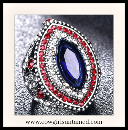 VINTAGE GYPSY RING Blue Sapphire & Red Rhinestone 925 Sterling Silver Plated Ring