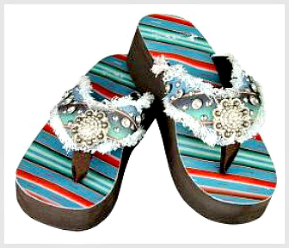 SOUTHWESTERN COWGIRL SANDALS Turquoise Serape Heel Silver Concho Rhinestone Flip Flops