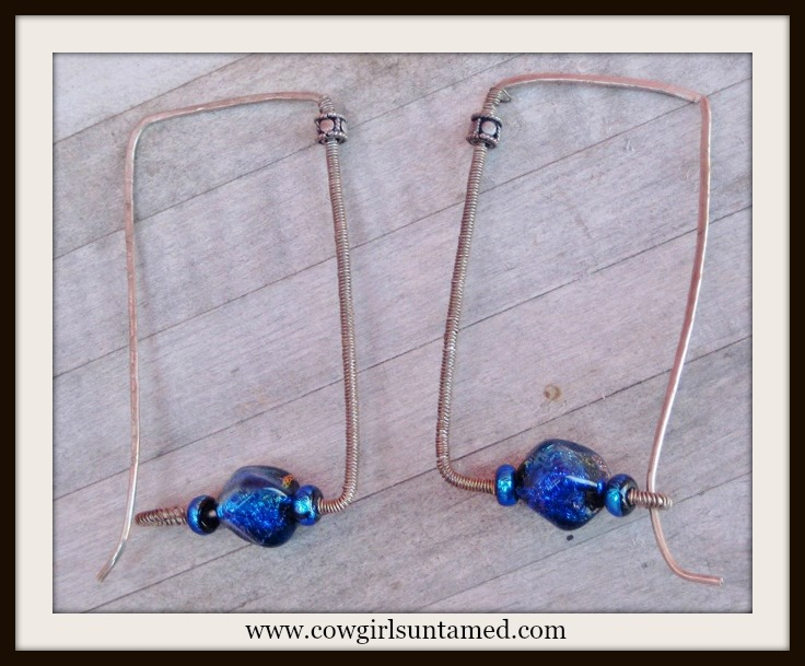 MODERN EARRINGS Cobalt Blue Stones on Antique Silver Square Wire Hoop Western Earrings