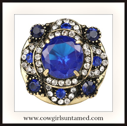 BOHEMIAN COWGIRL RING Blue Stone & Crystal Antique Gold Plated Boho Ring